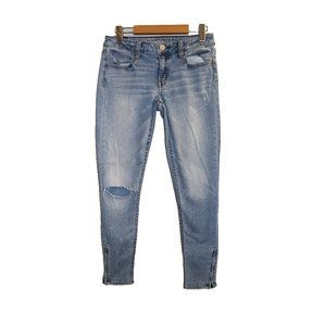 American Eagle Light Wash Ankle Zip Jeggings Jeans